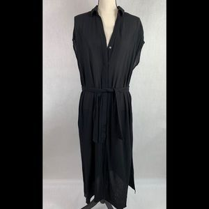 Zara Basic Black Maxi Dress Button front Small